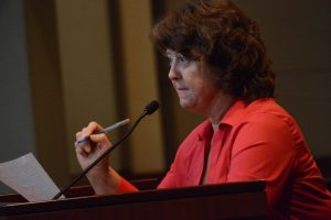Sarah Stinger asks the board to show loyalty to Loudoun residents. (Renss Greene/Loudoun Now)