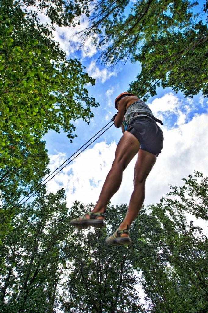 The Harpers Ferry Adventure Center's zip line course offers a tree-top view of the forest near the planned state park in northern Loudoun. [Douglas Graham/Loudoun Now]
