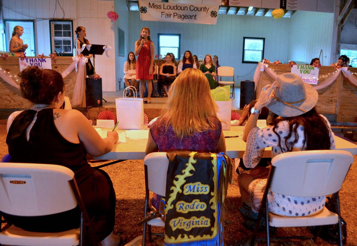 The judges for the pageant were Charli Wacker, of Ride-On-Ranch in Lovettsville; Kristen Dillon, former Loudoun County Junior Miss and Dairy Duchess; and Amy Long, of Long Meadows Farm in Winchester. (Danielle Nadler/Loudoun Now)