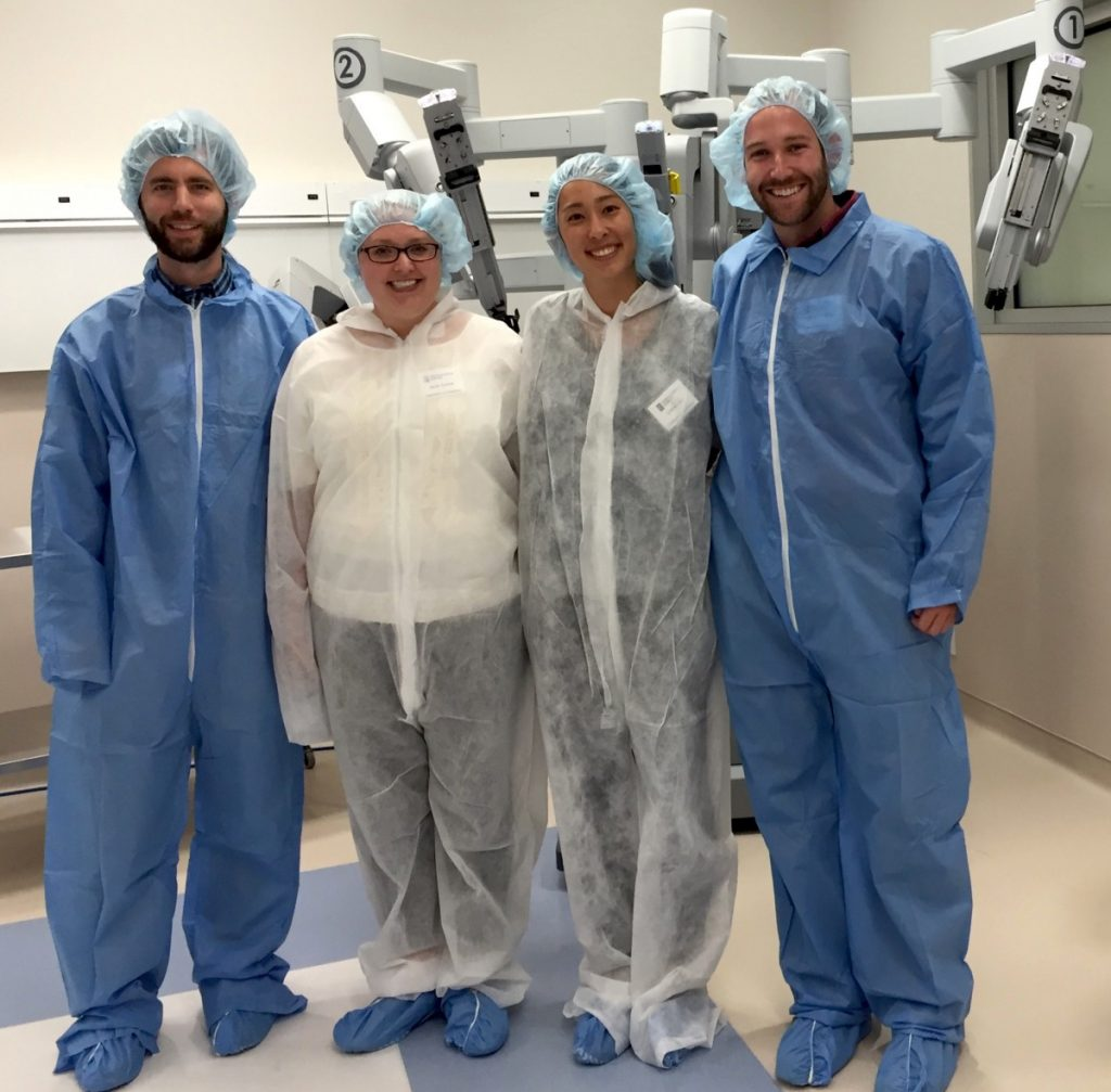 From left to right, Chris Buffone, Sarah Conrad, Juliet Kenny, and Michael Vereb prepare to watch a surgery at Inova Loudoun Hospital as part of the Teachers in Industry Project. (Stacey Miller/Inova Loudoun Hospital)