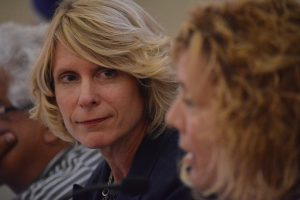 Leesburg council member Katie Sheldon Hammler listens to fellow council member Suzanne Fox. (Renss Greene/Loudoun Now)