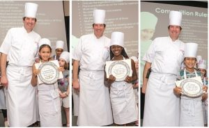Executive Chef Chris Ferrier with the winners in the sweet category, Mei Torry, Zuri Allen, and Satya Tarafda. (Benoit Marketing LLC)