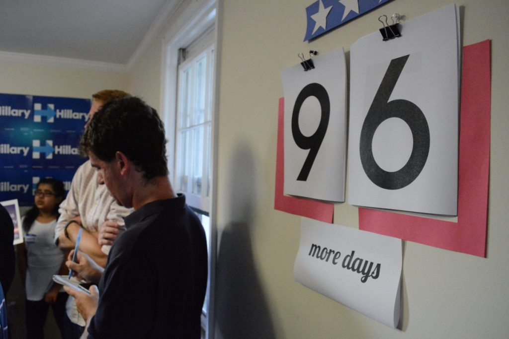 Numbers hang on the wall of the Leesburg Clinton campaign office counting down the days until the November election. (Renss Greene/Loudoun Now)