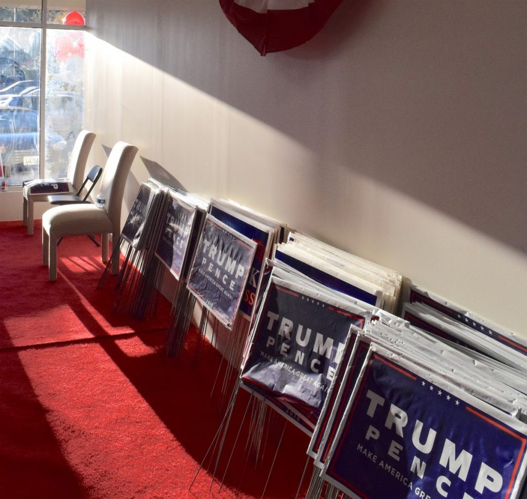 Piles of Trump-Pence campaign signs have arrived in Loudoun.