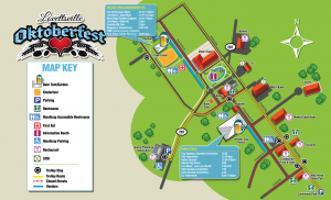 The Oktoberfest map shows the expanded festival area and entertainment details at both locations.