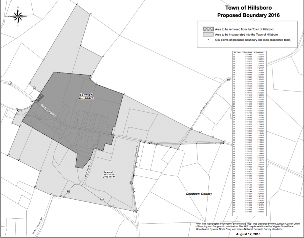 The map shows the proposed new boundaries for the Town of Hillsboro. If approved, the expansion will add 66 acres to the town's existing 60 acres. [Loudoun County Office of Mapping and Geographic Information]