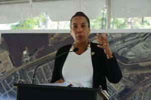 Chairwoman Phyllis J. Randall (D-At Large) at a groundbreaking Tuesday, Sept. 27. (Renss Greene/Loudoun Now)