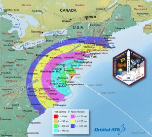 The viewing map for Sunday night's planned launch of a Orbital ATK cargo mission to the International Space Station. Liftoff was scheduled for 8:03 p.m. from Wallops Island.