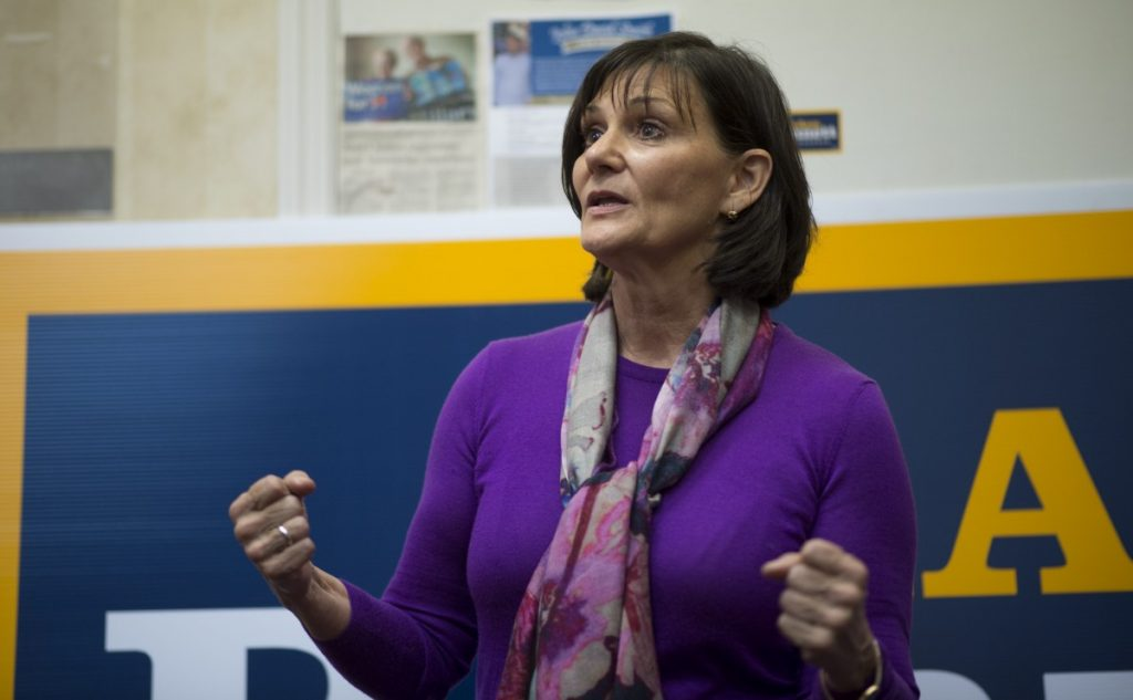 Congressional candidate LuAnn Bennett addresses constituents at the Democratic Headquarters in downtown Winchester. (Douglas Graham/Loudoun Now)