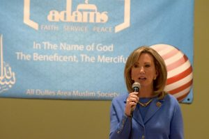 10th District candidate Barbara Comstock answers voters' questions at the ADAMS Center in Sterling Oct. 21.