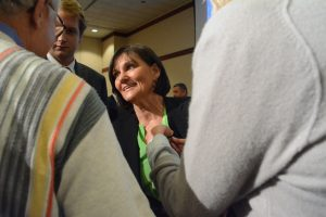 Democrat Luann Bennett talks with reporters after the 10th Congressional District debate. She had pressed Republican Barbara Comstock for months to denounce Donald Trump because of demeaning comments he has made about women. (Renss Greene/Loudoun Now)