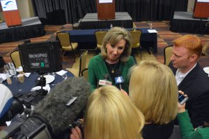 Rep. Barbara Comstock (R-VA-10) talks to TV reporters after the debate. (Renss Greene/Loudoun Now)